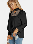 Black Lace Details Long Sleeves Causal Top