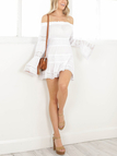 White Off-The-Shoulder Hollow Out Smocked Mini Dress