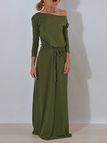 Army Green One Shoulder Long Sleeves Party Dresses with Belt