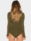 Army Green Plunge V-neck Bodysuit with Drawstring
