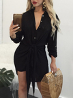 Black Self-tie & Button Design Deep V-neck Shirt Dress