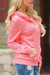 Pink Button Front Hoodie with Pocket