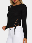 Black Lace-up Details Bodycon Crop Sweaters