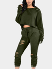Army Green Casual Ripped Round Neck Drawstring Waist Long Sleeves Suit