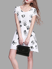 Random Floral Print Pattern Round Neck Dress with Crossed Back
