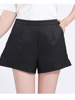 Black High Waist Shorts with Jacquard Details