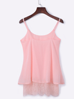 Pink Chiffon Double Layer Lace Hem Camis