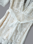 White Sexy Deep V-neck Pleated Lace Playsuit