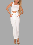 White Sleeveless Self-tie Jumpsuit with Round Neck