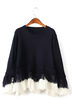 Fringed Loose Sweater in Navy