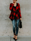 Red Grid Lapel Collar Long Sleeves Outerwear