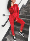 Active Hooded Design Drawstring Waist Tracksuit in Red