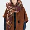 Square Checked Shawl Scarf in Brown
