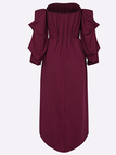 Off-The-Shoulder Curved Hem Mini Dress in Burgundy