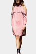 Pink Cold Shoulder Button Front Ruffle Design Shirts Dress