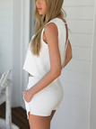 White Simple V-neck Open Back Top & Asymmetric Shorts