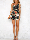 Navy Random Floral Print Hollow Dress