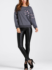 Grey Side Pockets Floral Print Round Neck Long Sleeves Sweatshirts