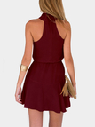 Burgundy Crew Neck Sleeveless Mini Dress