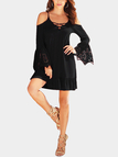 Black Cold Shoulder Flared Sleeves Lace Dress