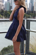 Navy Halter Neck Backless Lace Dress with Bowknot