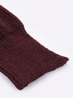 Ladies Burgundy V Neck Long Bat-wing Sleeve Top Knit Sweater