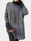 Grey High Neck Long Sleeves Loose Sweaters