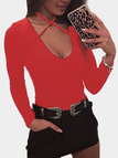 Red Deep V-neck Criss-cross Halter Long Sleeves Bodysuit