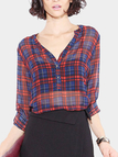 Classic Sheer Check Print Long Sleeve Shirt