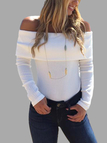 White Off Shoulder Layered Long Sleeves Striped Bodysuit