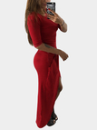 Red Pleated Design 3/4 Length Sleeeves Slit Maxi Dress