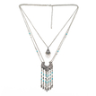 Vintage Three Chain Layered Necklace With Tassels Details