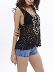 Black Sexy Beaded Hollow Lace Vest