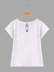Letter Print T-shirt with  Round Neck