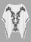 V Neck Swing Top With Batwing Sleeve And Embroidery
