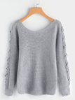 Grey Pullover One-shoulder Lace-up Design Sweater