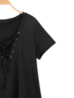 Black Plunge V-neck Lace-up Short Sleeve T-shirt