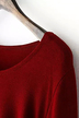 Burgundy Long Sleeve Knitted Dress