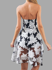 Floral Print Irregular Hem Off Shouler Dress