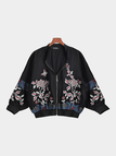 Black Fashion Jacket With Floral Embroidery