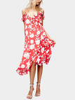 Red Deep V-neck Random Floral Print Belt Flouncing Dress