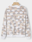 Beige Plus Cashmere Stone Pattern Long Sleeves Top