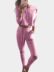 Pink Ripped Details Long Sleeves Tracksuit