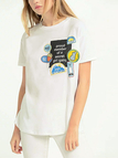 White Casual Printed Short Sleeve T-shirt with Patch