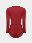 V-neck Long Sleeves Knitted Bodysuit in Red