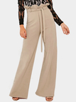 Beige Flounced Detail Wide Leg Drawstring Waist Pants