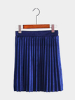 Navy Velvet Mini Pleated Skirt