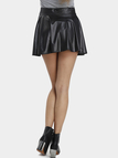Black Leather Look Skater Skirt With Elastic Band