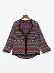 Vintage Random Embroidery Pattern Causal Jacket with Zipper Design