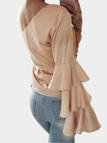 Apricot One Shoulder Ruffle Bell Sleeves Blouse with Belt